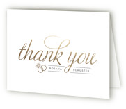 This is a gold wedding thank you card by Beth Schneider called Golden Bride with foil-pressed printing on strathmore in standard.