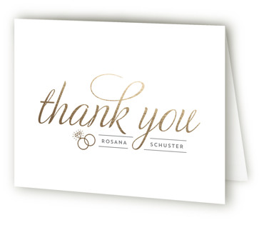 Golden Bride Foil-Pressed Bridal Shower Thank You Cards
