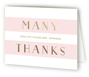 This is a pink wedding thank you card by Lauren Chism called Here She Comes with foil-pressed printing on strathmore in standard.