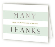 This is a green wedding thank you card by Lauren Chism called Here She Comes with foil-pressed printing on strathmore in standard.