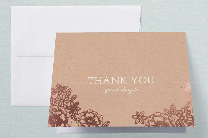 """Lace and Kraft"" - Vintage, Floral & Botanical Foil-pressed Bridal Shower Thank You Cards in Kraft by Katharine Watson."
