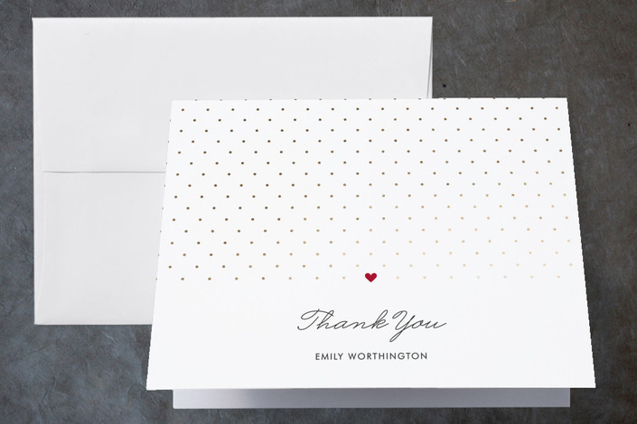 """Polka Dot"" - Simple, Modern Foil-pressed Bridal Shower Thank You Cards in Strawberry by Kim Dietrich Elam."