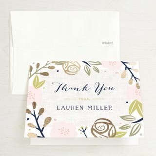 Spring Shower Foil-Pressed Bridal Shower Thank You Cards