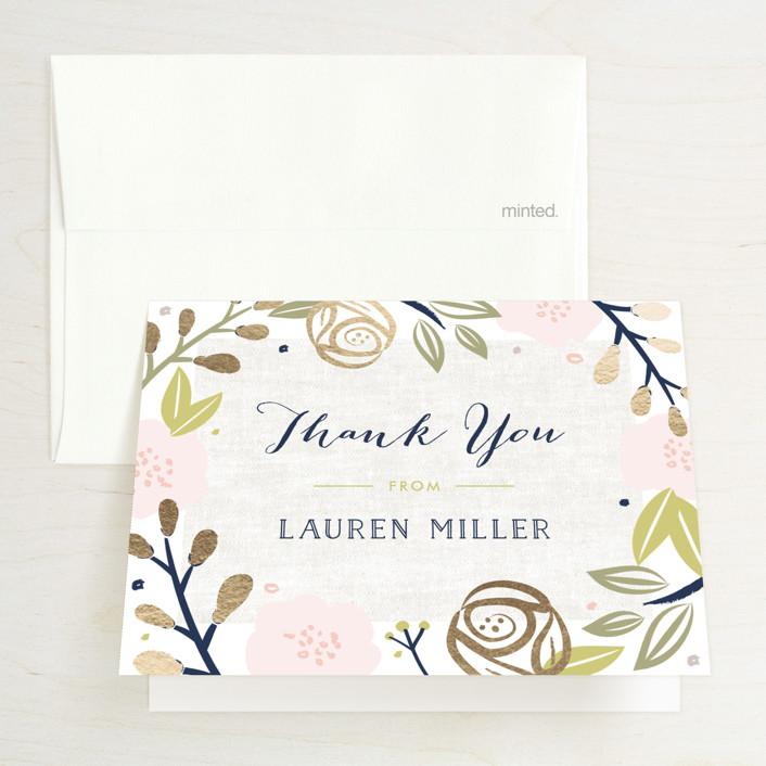 """Spring Shower"" - Floral & Botanical Foil-pressed Bridal Shower Thank You Cards in Blush by Carolyn MacLaren."