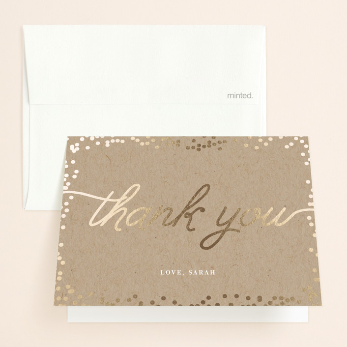 """""""Starlight"""" - Whimsical & Funny, Preppy Foil-pressed Bridal Shower Thank You Cards in Kraft by Saltwater Designs."""