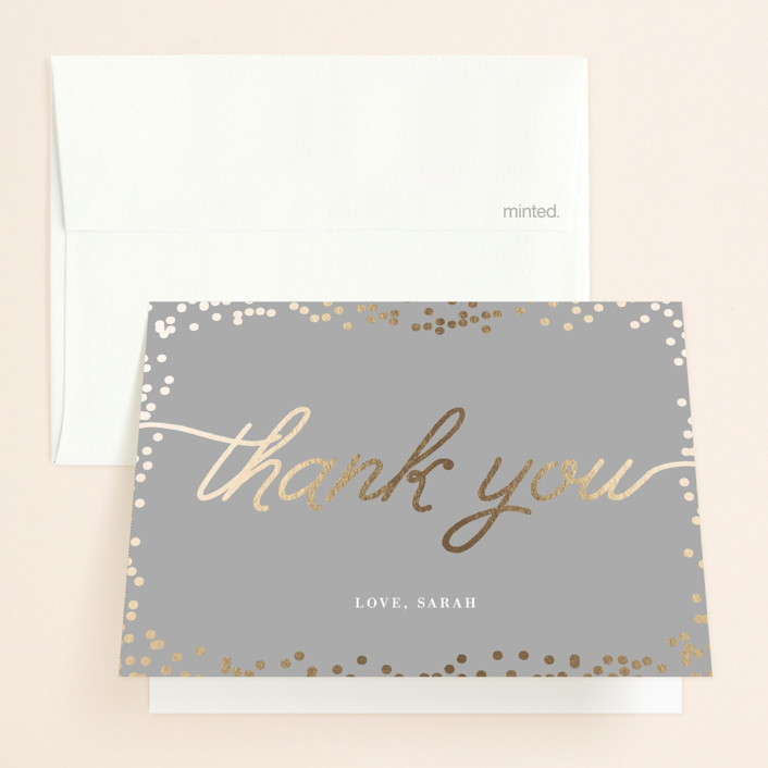 """Starlight"" - Whimsical & Funny, Preppy Foil-pressed Bridal Shower Thank You Cards in Dove by Saltwater Designs."