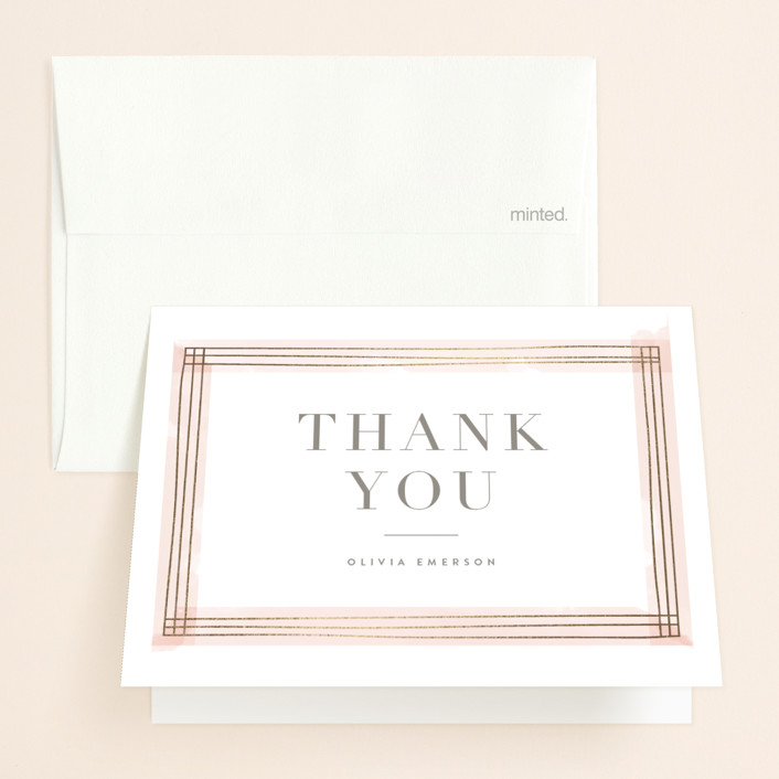 """Engaging"" - Foil-pressed Bridal Shower Thank You Cards in Blush by Kristie Kern."