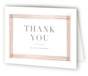 This is a gold wedding thank you card by Kristie Kern called Engaging with foil-pressed printing on strathmore in standard.