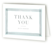 This is a blue wedding thank you card by Kristie Kern called Engaging with foil-pressed printing on strathmore in standard.