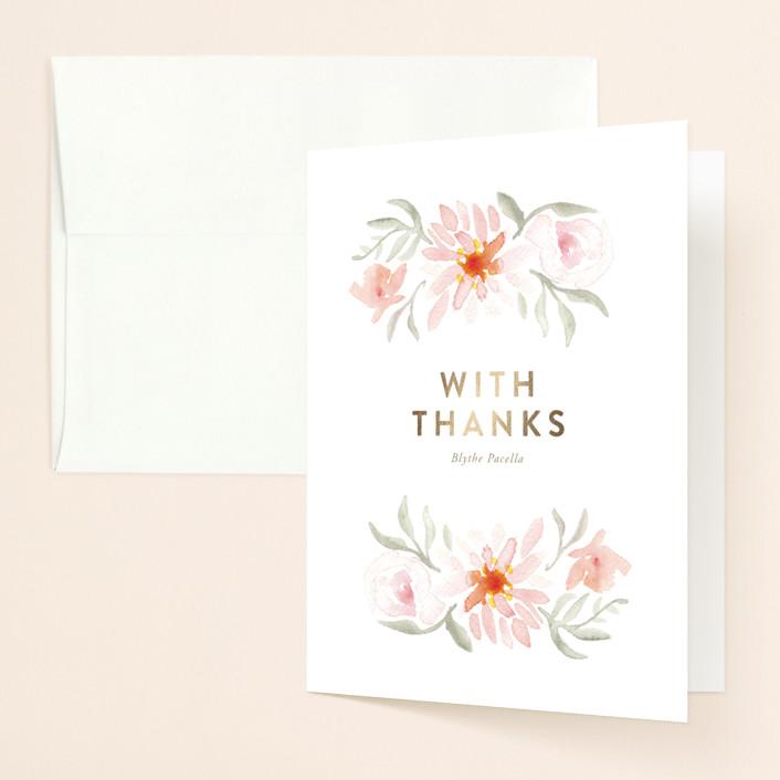 """Parfumerie"" - Foil-pressed Bridal Shower Thank You Cards in Petal by Smudge Design."