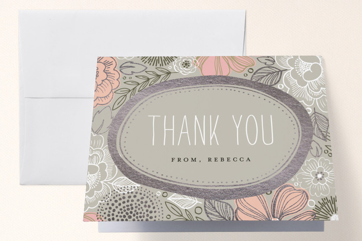 """""""Peony Frame"""" - Foil-pressed Bridal Shower Thank You Cards in Ash by Alethea and Ruth."""