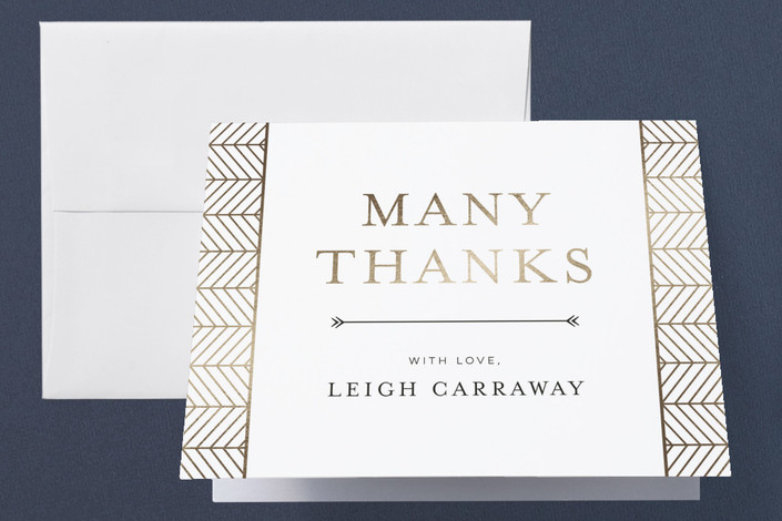 """Chevron"" - Foil-pressed Bridal Shower Thank You Cards in Flax by Melanie Kosuge."