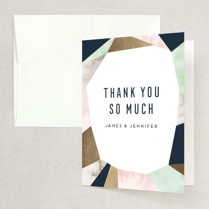 """""""Geo Elegance"""" - Foil-pressed Bridal Shower Thank You Cards in Navy by Petra Kern."""