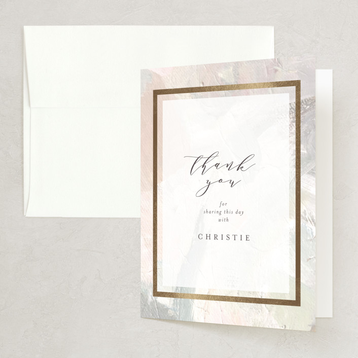 """""""gilded pastel painting"""" - Foil-pressed Bridal Shower Thank You Cards in Pastel by Phrosne Ras."""