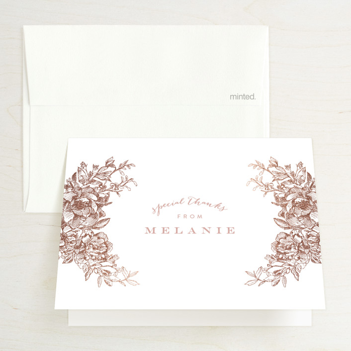 """""""Engraved Flowers"""" - Foil-pressed Bridal Shower Thank You Cards in Rose Gold by Phrosne Ras."""