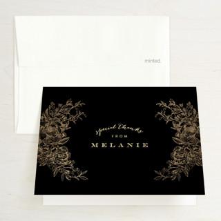 Engraved Flowers Foil-Pressed Bridal Shower Thank You Cards