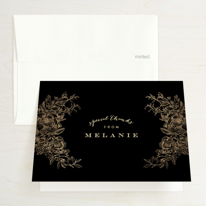 """""""Engraved Flowers"""" - Foil-pressed Bridal Shower Thank You Cards in Midnight by Phrosne Ras."""