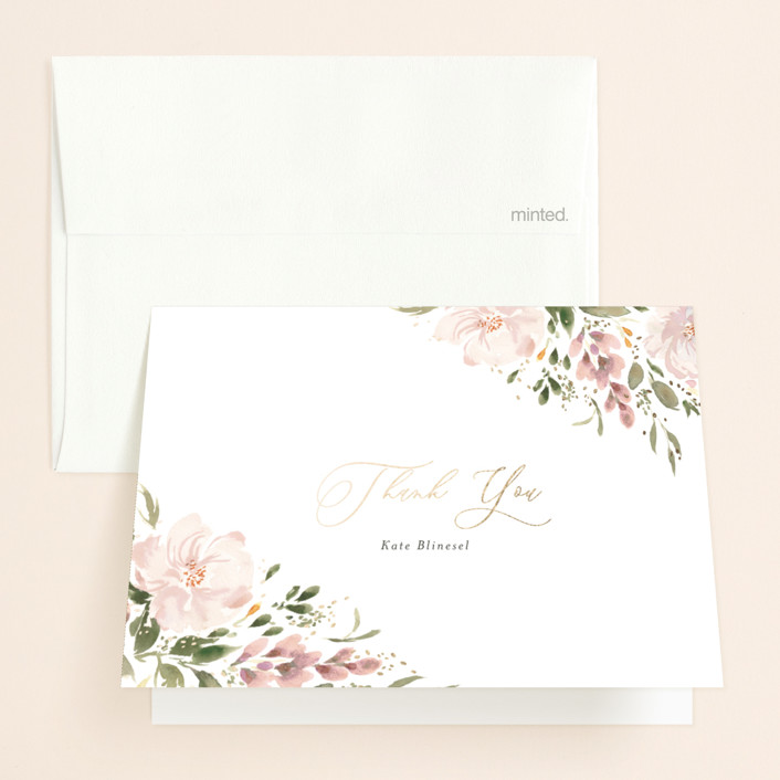 """""""Bridal Cake"""" - Foil-pressed Bridal Shower Thank You Cards in Mist by Itsy Belle Studio."""