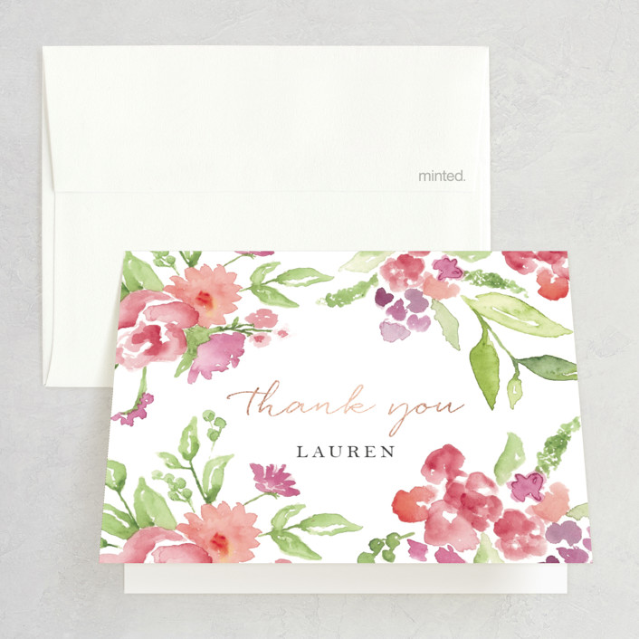 """""""Floral Bride-to-Be"""" - Foil-pressed Bridal Shower Thank You Cards in Poppy by Casey Brock."""