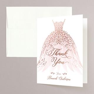 floral spray Foil-Pressed Bridal Shower Thank You Cards