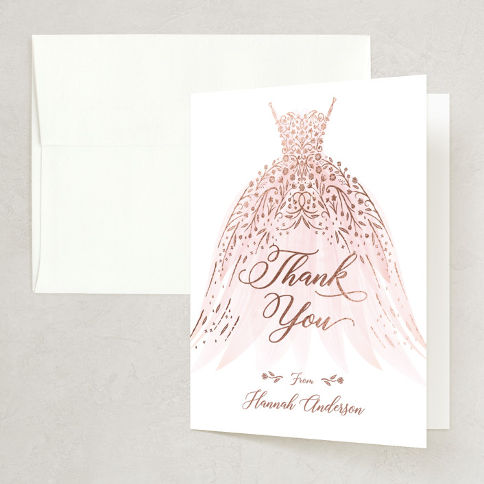"""floral spray"" - Foil-pressed Bridal Shower Thank You Cards in Blush by Paper Sun Studio."