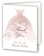 This is a pink wedding thank you card by Paper Sun Studio called floral spray with foil-pressed printing on strathmore in standard.