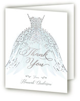 This is a blue wedding thank you card by Paper Sun Studio called floral spray with foil-pressed printing on strathmore in standard.