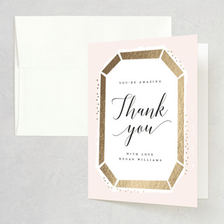 Emerald Cut Foil-Pressed Bridal Shower Thank You Cards