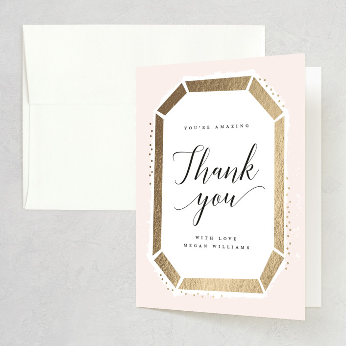 """""""Emerald Cut"""" - Foil-pressed Bridal Shower Thank You Cards in Blush by Michelle Taylor."""