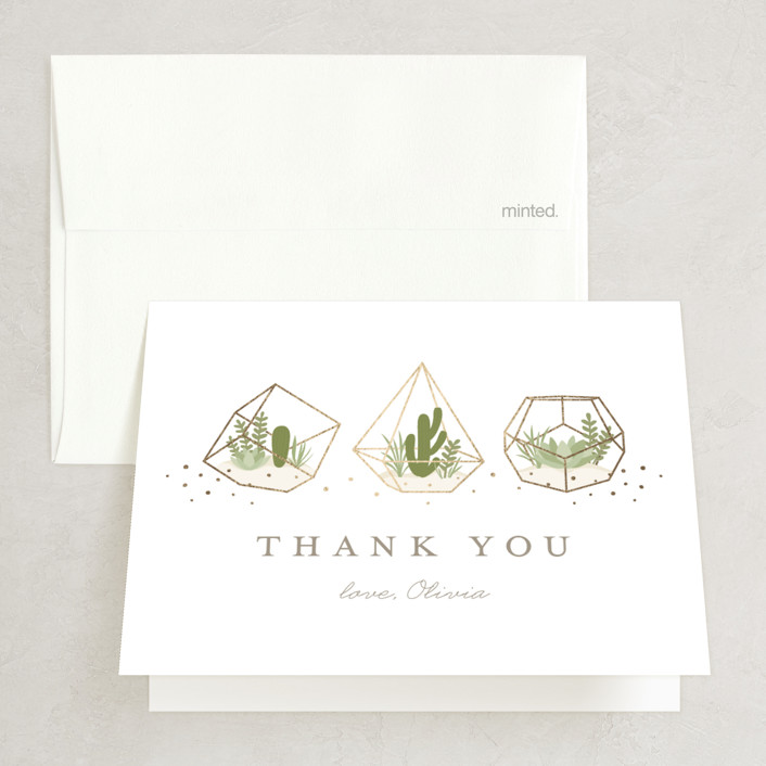"""""""Bridal Terrariums"""" - Foil-pressed Bridal Shower Thank You Cards in Beige by Jessica Maslyn."""