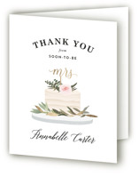 This is a gold wedding thank you card by Joanna Griffin called Rustic Cake with foil-pressed printing on strathmore in standard.