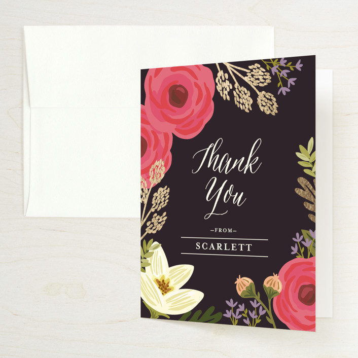 """""""Rhapsody"""" - Foil-pressed Bridal Shower Thank You Cards in Peony by Griffinbell Paper Co.."""