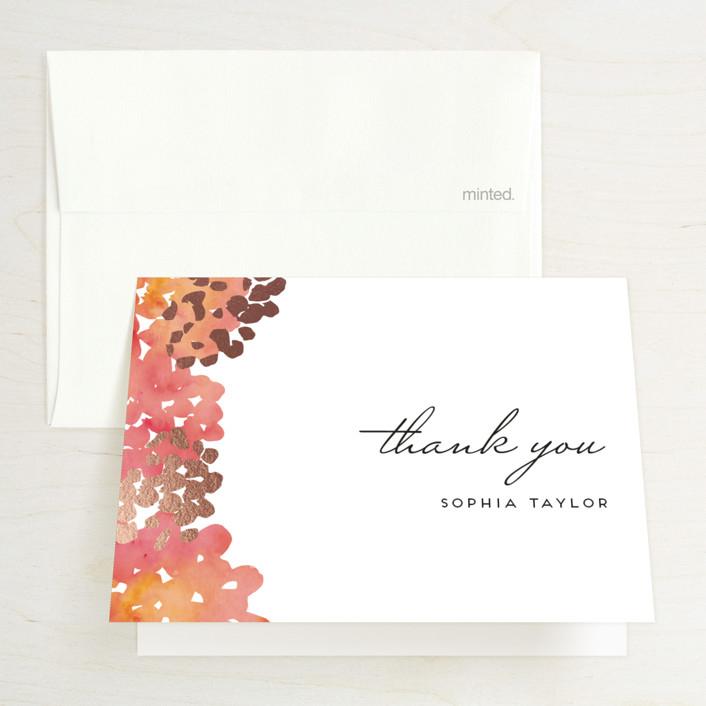 """Garden Spring Blossom"" - Floral & Botanical Foil-pressed Bridal Shower Thank You Cards in Strawberry Sorbet by Petra Kern."