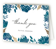 This is a blue wedding thank you card by Petra Kern called Watercolor Delight with foil-pressed printing on strathmore in standard.