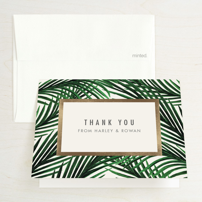 """""""Tropical Love"""" - Foil-pressed Bridal Shower Thank You Cards in Ivory by Elly."""