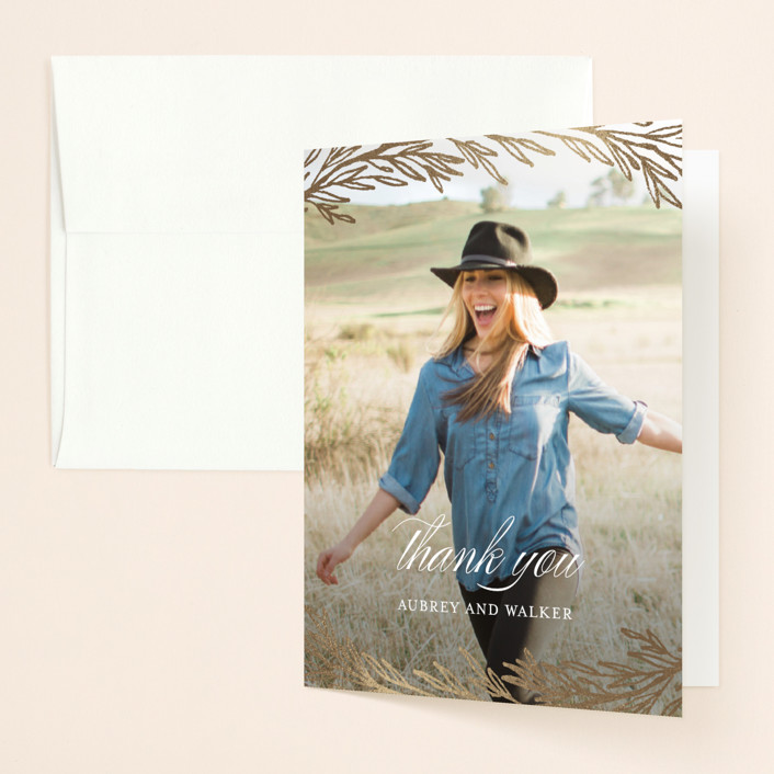 """""""Dipped Laurels"""" - Foil-pressed Bridal Shower Thank You Cards in Lily by Grace Kreinbrink."""