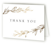 This is a gold wedding thank you card by Mere Paper called Metallic Branches with foil-pressed printing on strathmore in standard.