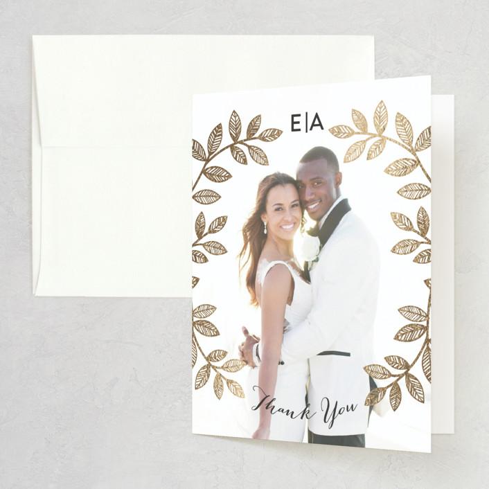 """Folk Filigree"" - Foil-pressed Bridal Shower Thank You Cards in Linen by shoshin studio."