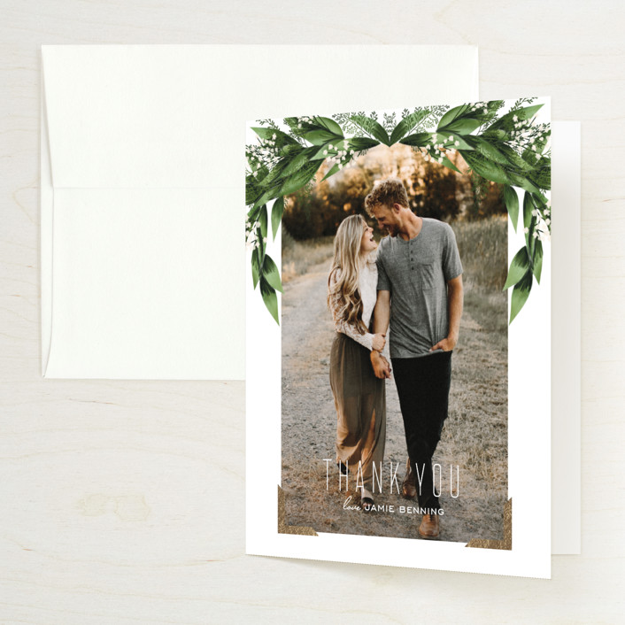 """""""Diamante"""" - Foil-pressed Bridal Shower Thank You Cards in Forest by Leah Bisch."""