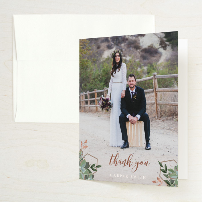 """""""Succulent Surround"""" - Foil-pressed Bridal Shower Thank You Cards in Champagne by Susan Moyal."""