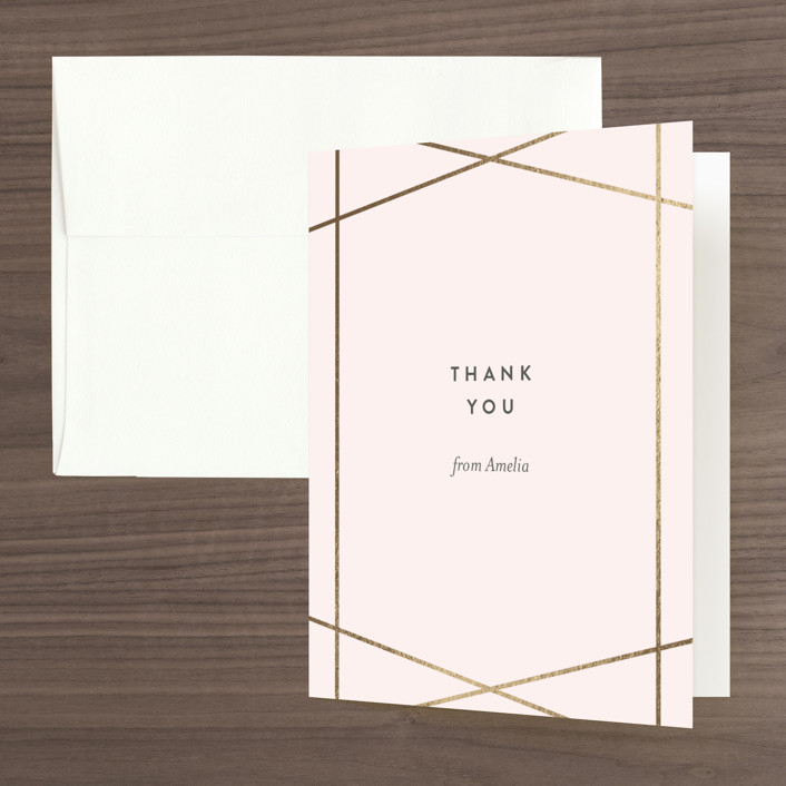 """""""Simplicity"""" - Foil-pressed Bridal Shower Thank You Cards in Blush by Kampai Designs."""
