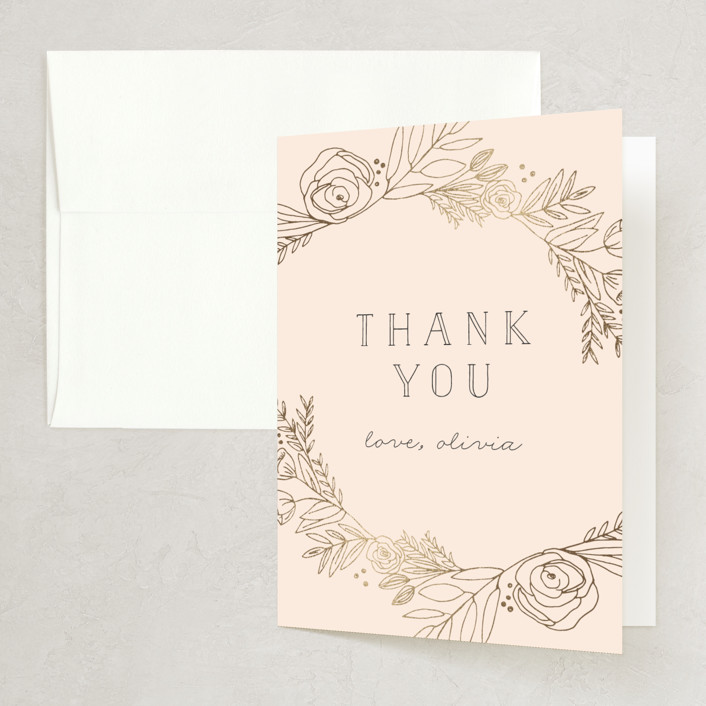 """""""Gilded Vines"""" - Foil-pressed Bridal Shower Thank You Cards in Cerise by Annie Montgomery."""