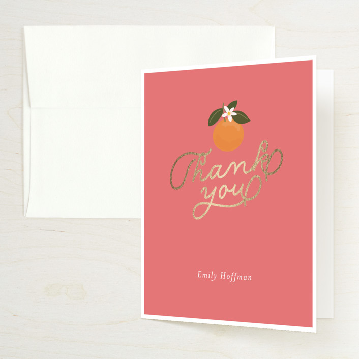 """""""Citrus and  Cake"""" - Foil-pressed Bridal Shower Thank You Cards in Coral by Itsy Belle Studio."""