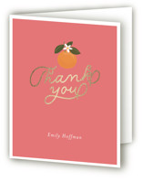 This is a pink wedding thank you card by Itsy Belle Studio called Citrus and  Cake with foil-pressed printing on strathmore in standard.