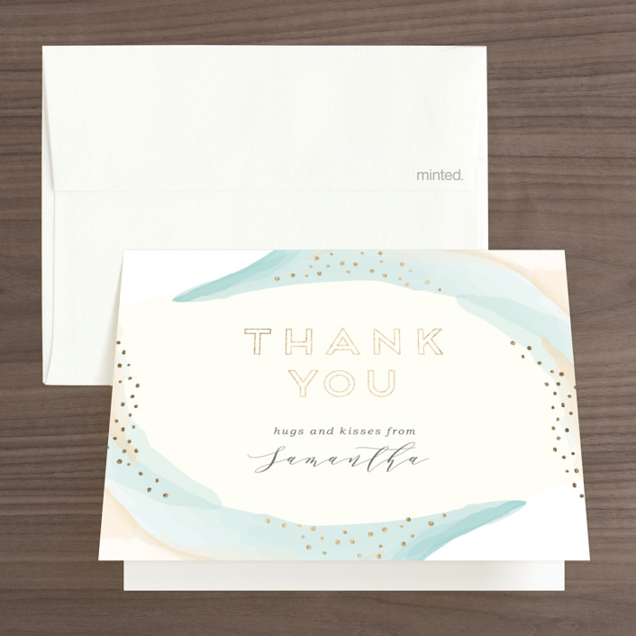 """""""tranquil"""" - Foil-pressed Bridal Shower Thank You Cards in Seafoam by Mai Jimenez."""