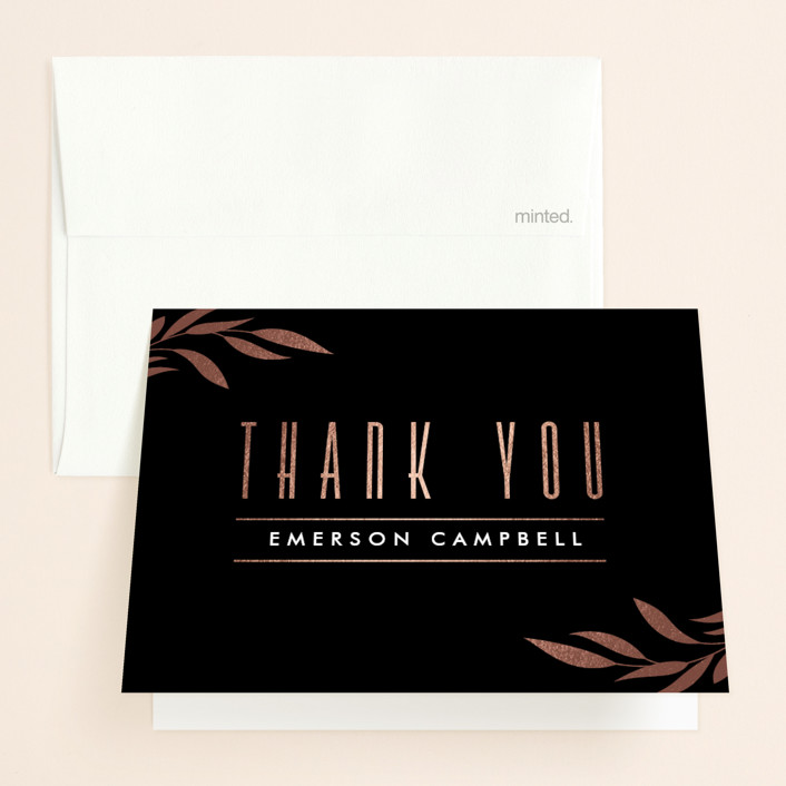 """""""Sway"""" - Foil-pressed Bridal Shower Thank You Cards in Onyx by Jennifer Postorino."""