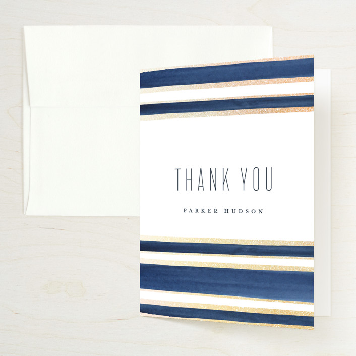 """""""Navy Chic"""" - Foil-pressed Bridal Shower Thank You Cards in Navy by Petra Kern."""