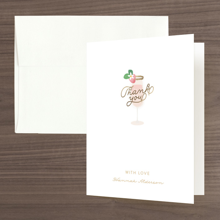 """""""Bubbly & Brunch"""" - Foil-pressed Bridal Shower Thank You Cards in Blush by Itsy Belle Studio."""