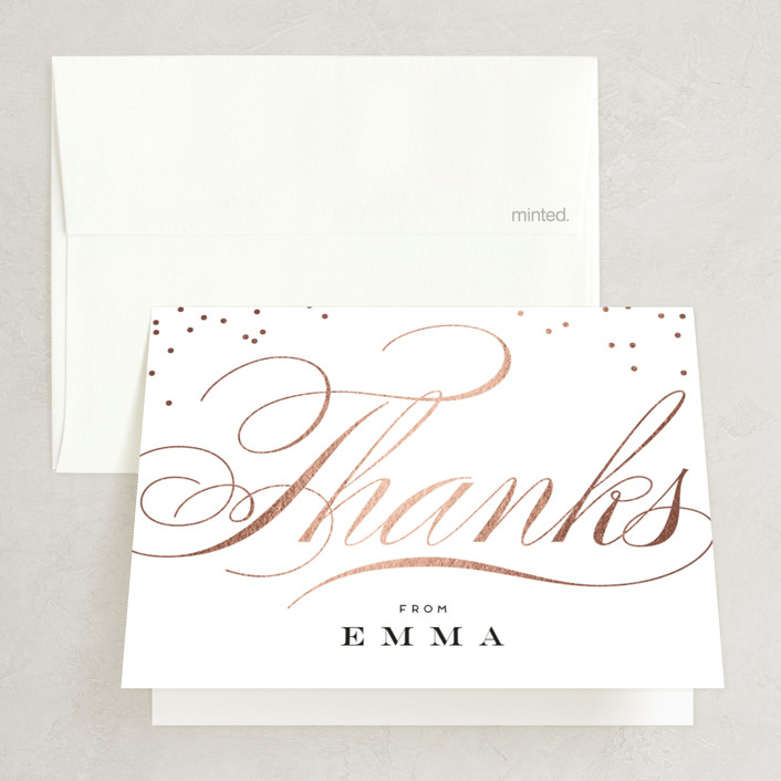 """""""Swish and Swoon"""" - Foil-pressed Bridal Shower Thank You Cards in Ebony by Carrie ONeal."""