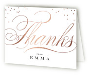 This is a black wedding thank you card by Carrie ONeal called Swish and Swoon with foil-pressed printing on strathmore in standard.